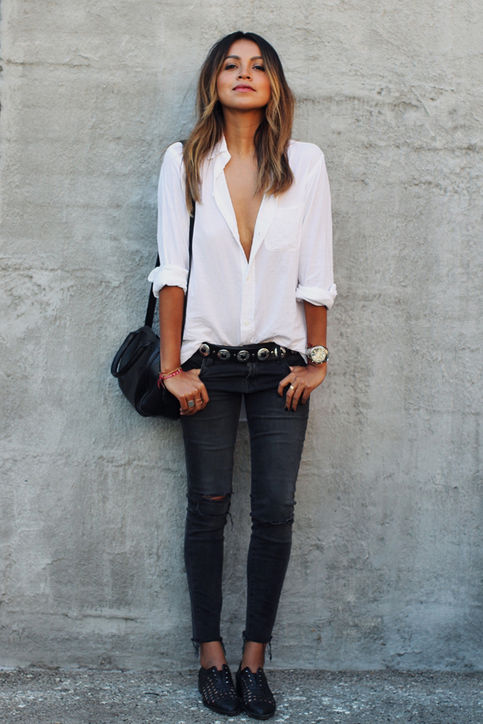 skinny jeans outfit ideas, Glamour