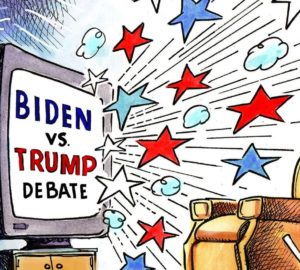 cartoon debate Trump Biden